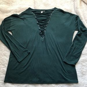 Express One Eleven Green Long Sleeve Top Small